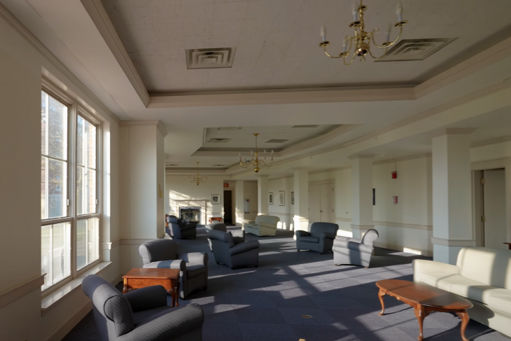 Humbert Hall Lobby with various pieces of furniture displayed