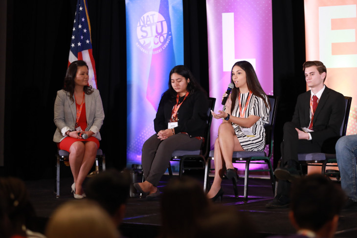 Panel conversation with 5 people