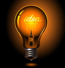 """Lightbulb with the word """"idea"""" scripted inside"""