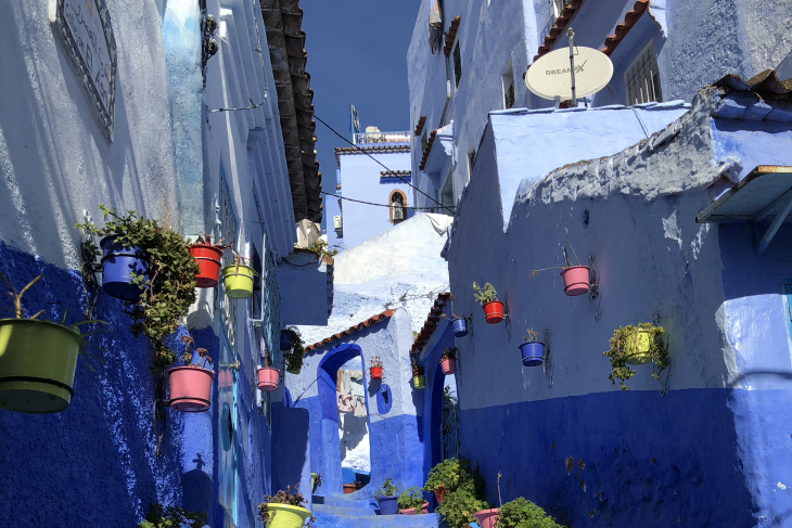A colorful street in Chefchouan, Morocco