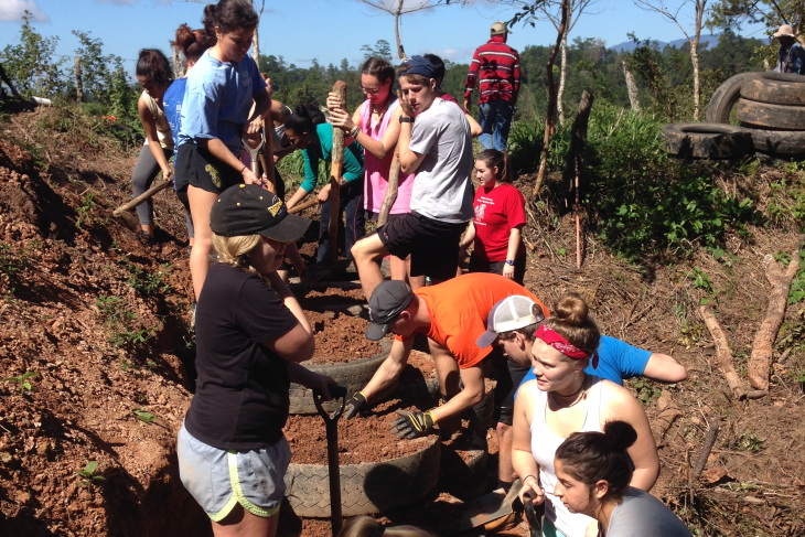 Students on a CoCoDA DePauw service trip in 2017.