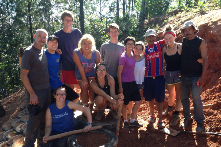 Students pause for a photo on a CoCoDA DePauw service trip in 2017.