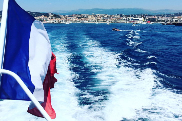 picture on boat with french flag