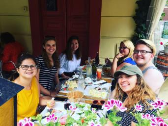 students eating at café