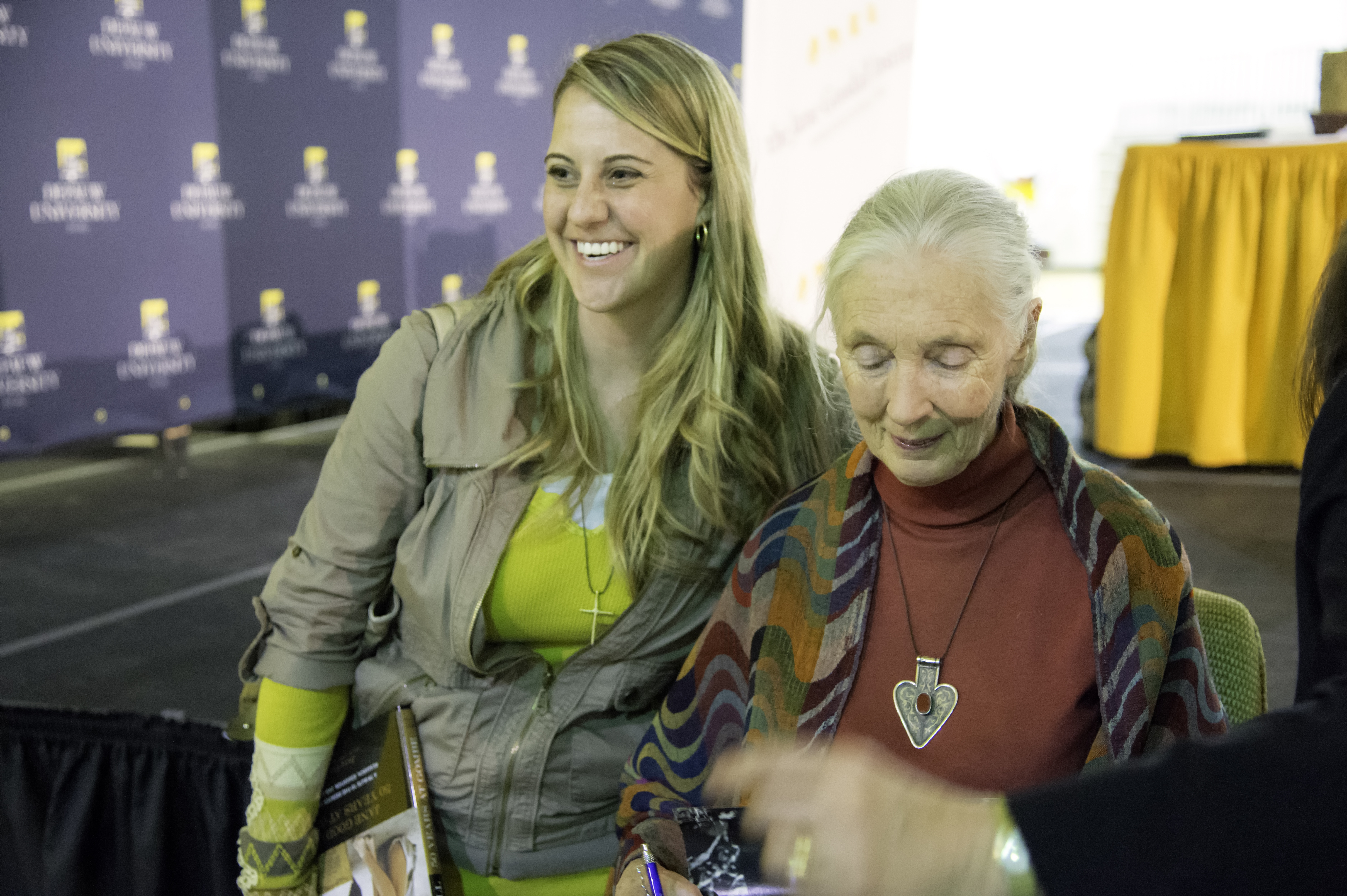 Jane Goodall's April 2013 speech was followed by a book signing.