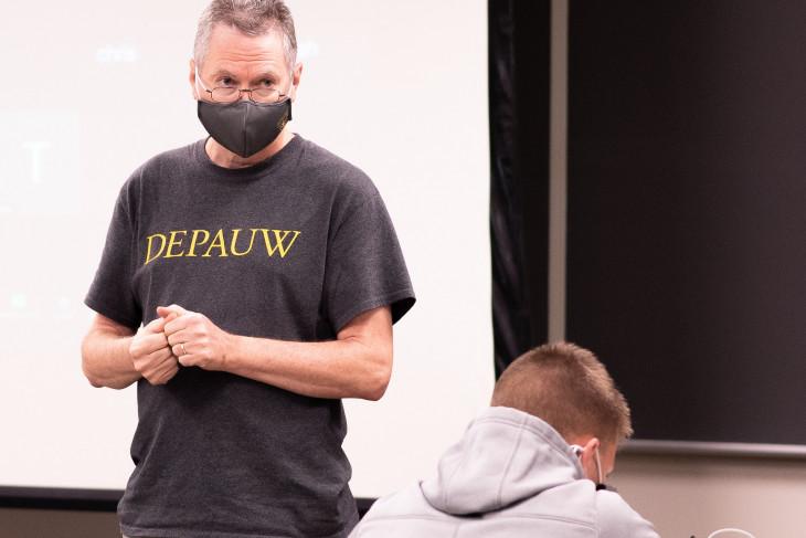 Chemistry teacher is masked