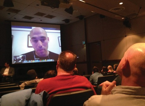 """Joshua Oppenheimer, discussing his Oscar-nominated documentary, """"The Act of Killing,"""" with a Film Studies audience"""