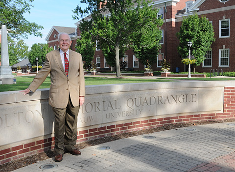 John J. Baughman '48 in front of the Holton Memorial Quadrangle