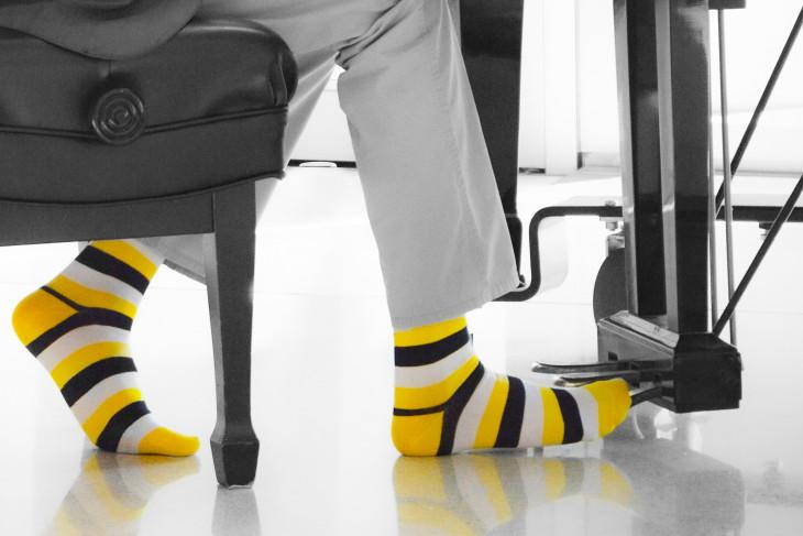 Joshua Thompson in DePauw socks.