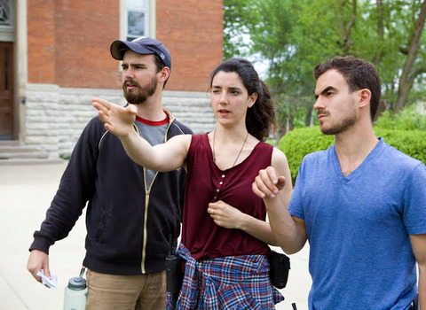 Henry Johnston '14 and Alex Thompson '12, with Director of Photography Zoe Lubeck