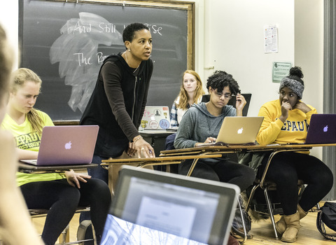 Professor Tamara Beauboeuf in the classroom