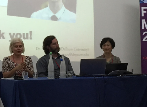 DePauw Film Studies professors Angela Flury, Seth A. Friedman, and Sherry J. Mou presenting at the London Film and Media Conference