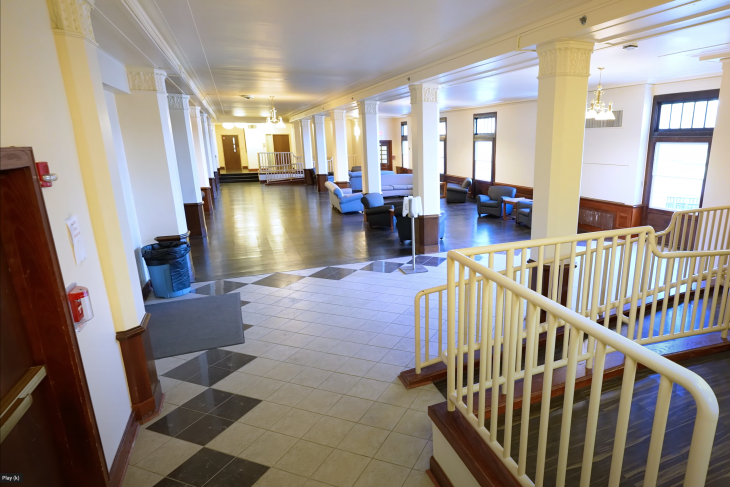 Longden Hall Lobby with various pieces of furniture displayed