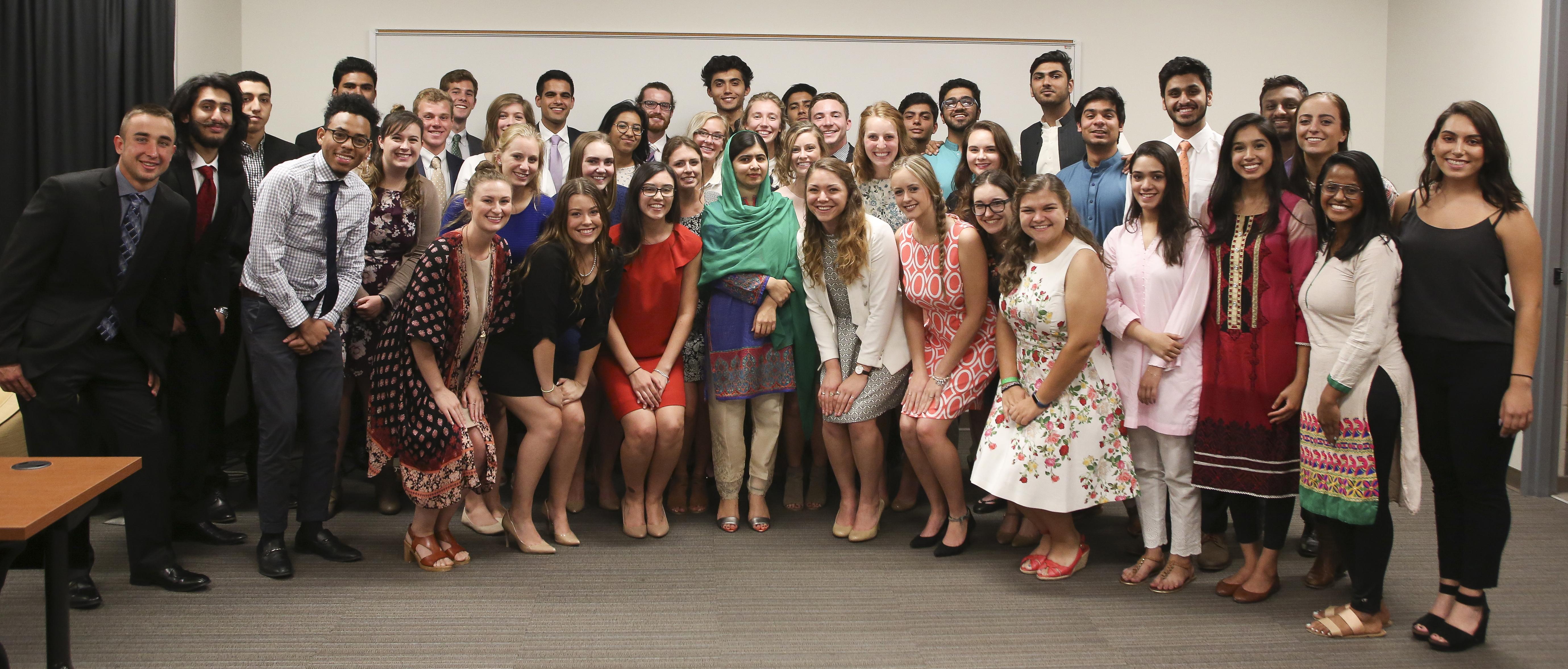 Malala Yousafzai with DePauw students; Sept. 4, 2017