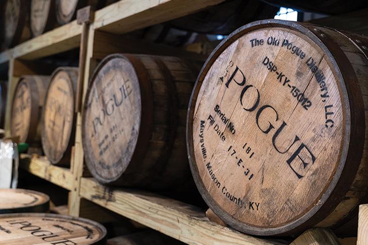 Casks at Pogue Distillery