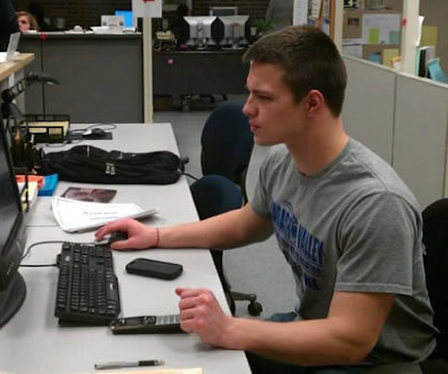 Student working providing technical support