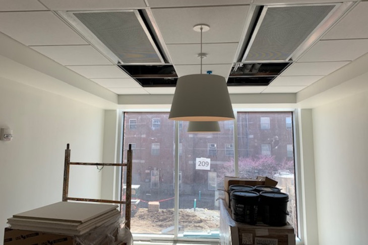 Photo of room in construction progress in residence hall 1