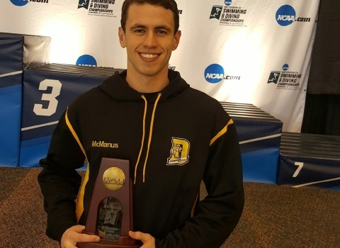 Sam McManus '18 with All-American honors at the NCAA Division III swimming national championship meet