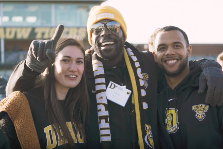 Smiling DPU fans after the Monon Bell win in November, 2019