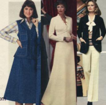 Three women in attire from 1976