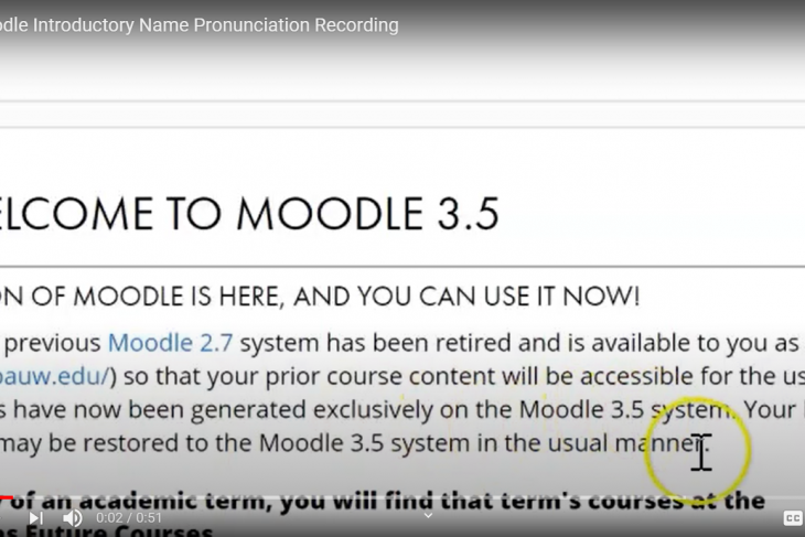 Moodle Introductory Name Pronunciation