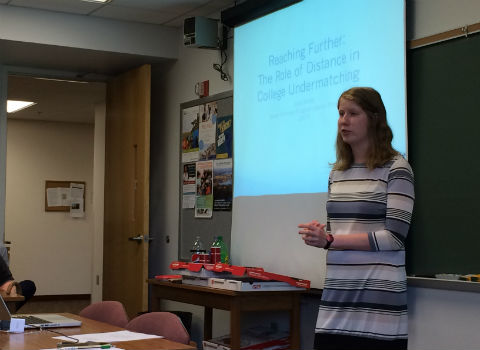 Lois Miller presenting her Honor Scholar thesis inn May 2017