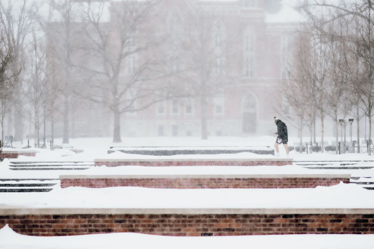 Snowy day on campus