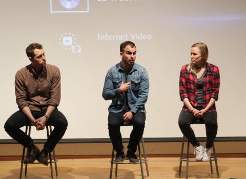 Alex Thompson '12 participating in a discussion at SXSW Film Festival