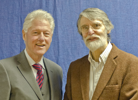 President Bill Clinton and Professor Bruce Stinebrickner