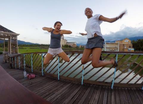 Students in rural Taiwan teaching English