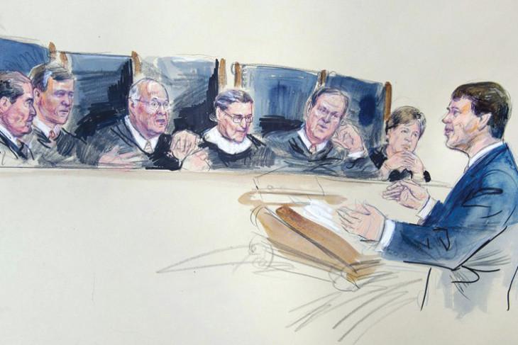 Sketch of Hallward-Driemeier arguing before the Supreme Court justices