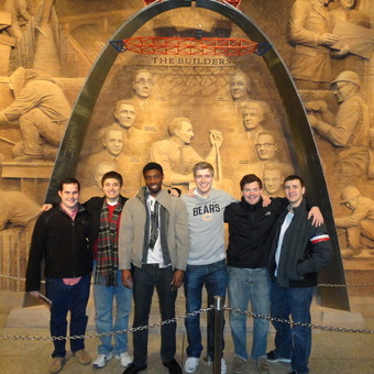 Jimmy Kirkpatrick, Sam Leist, Ronnie Kennedy, Mickey Terlep, Matt Piggins, and Robert McMurray (left to right) visit the Arch before rounds at the Pi Kappa Delta National Tournament in St. Louis (2013).