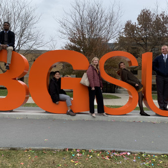 DePauw Debaters Strike a Pose at Bowling Green State (2019). Pictured (Left to Right): KeVeon White, Yong Heo, Alayna Trier, Sage Klinger, Lucas Taylor.