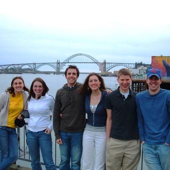 Stefanie Duncan, Kalie Zamierowski, Tyler Kennedy, Jenny Starcevich, Michael Lutz, and J.J. Burns (left to right) take in the sights in beautiful Portland, Oregon in 2006.