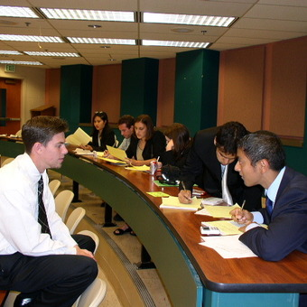 DePauw Debaters hard at work at the Ball State Tournament in 2004.