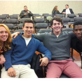 Erin Mann, Ryan Grippo, Zack Wade, and Kelechi Ikwuakor anxiously await the results at the Ball State Debate Tournament (2014).
