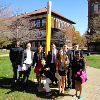 """Ronnie Kennedy, Robert McMurray, Meredith Lockman, Alex Riggs, Jimmy Kirkpatrick, Trish Preuss, Matt Piggins, Sam Leist, Bri'anna Moore (left to right ) are """"Penciled In"""" for Success at the Purdue University """"Boilermaker Special"""" in 2012."""