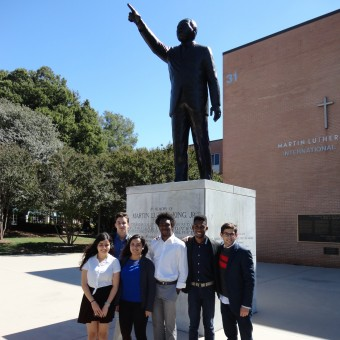 They have a dream! The DePauw Debate Team stands beside the statue of Martin Luther King, Jr.  at Morehouse College in Atlanta (2016).