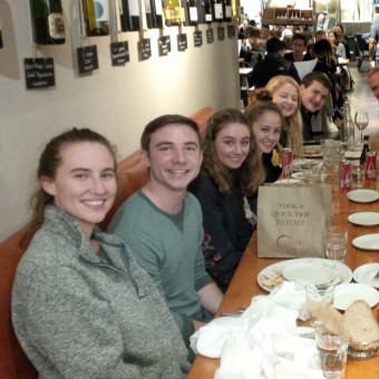 DePauw Debaters carb stuffing at Eataly in Chicago before the Mies Meltdown Tournament.  Left Side (front to back): Sage Klinger, Liam Byrnes, Brenna Milligan, Cory Steele, Alayna Trier, Alex Spencer (2018).