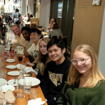 DePauw Debaters carb stuffing at Eataly in Chicago before the Mies Meltdown Tournament.  Right Side (front to back): Nina Stular, Yuki Harata, Kristina Mikhailova, Yong Heo, KeVeon White, Lucas Taylor (2018).