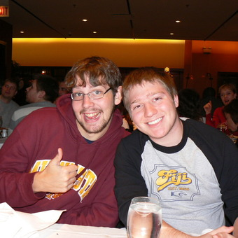 Fiji brothers and debate partners Kevin Milne and Aaron Dicker after rounds at the 2007 Loyola Rambler in Chicago.  Could Kevin Milne be demonstrating the Fiji secret sign?!
