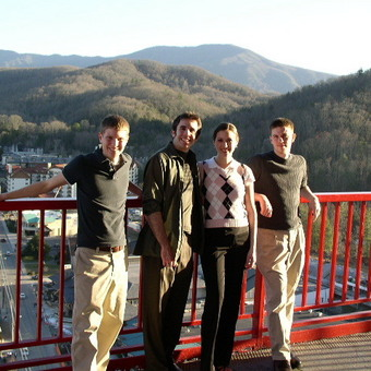 Atop the Space Needle in Gatlinburg,Tennessee.  Michael Lutz, Tyler Kennedy, Jenny Starcevich, and J.J. Burns (left to right), shared the National Title in 2006 after closing out the final round.
