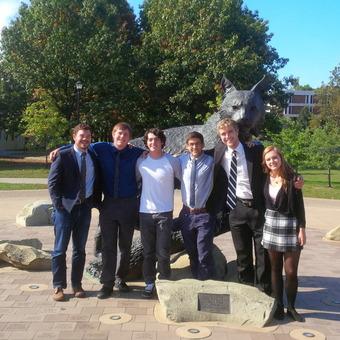 The (DePauw) Tigers visit the (University of Kentucky) Wildcats.  Pictured (left to right): Matt Piggins, Jack Williams, Zack Wade, Danny Schultz, Mickey Terlep, Jessica Miller (2015).