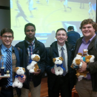 DePauw Debaters show off their Bulldog Awards at the Butler Bulldog Tournament.  Pictured (left to right): Danny Schultz, KeVeon White, Liam Byrnes, Ryan Dickison (2017).