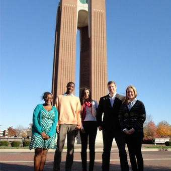 Bri'anna Moore, Ronnie Kennedy, Mumal Usman, Alex Parker, and Emilie Hofferber (left to right) take a break between rounds at the Ball State Debate Tournament (2013).