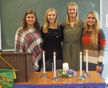 2017 initiates: Alex Boesel, Kelsey Haller, Carolyn Jedd, Amelia Warren (not pictured: Brittanie LaCour)
