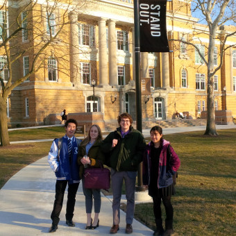 """DePauw Debaters """"Stand Out"""" at Bowling Green State University at the 2019 Novice Nationals Tournament. Pictured (left to right): Yasuaki Ono, Kristina Mikhailova, Alex Spencer, Mana Kunimatsu."""