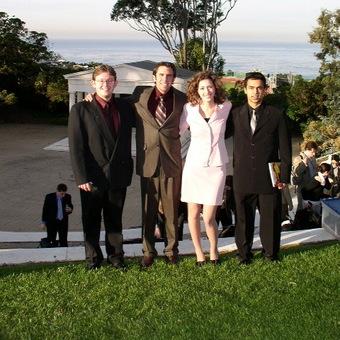 Alex Spiridonov, Tyler Kennedy, Jenny Starcevich, and Projesh Banerjea (left to right) enjoy the coastal breeze at Pt. Loma University in San Diego (2005).