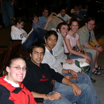 The team anxiosly await results at the NPDA national tournament at Texas Tech in 2005.