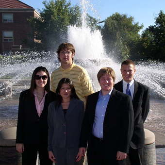 """Keelin Kelly, Kevin Milne, Nikki Miyasato, Aaron Dicker, and Michael Lutz (left to right) at Purdue University for the """"Boilermaker Special"""" in 2007."""